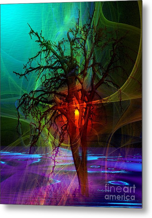 Abstract Fractal Sunset Tree Colors Metal Print featuring the digital art Almost Sunset by Carolyn Staut