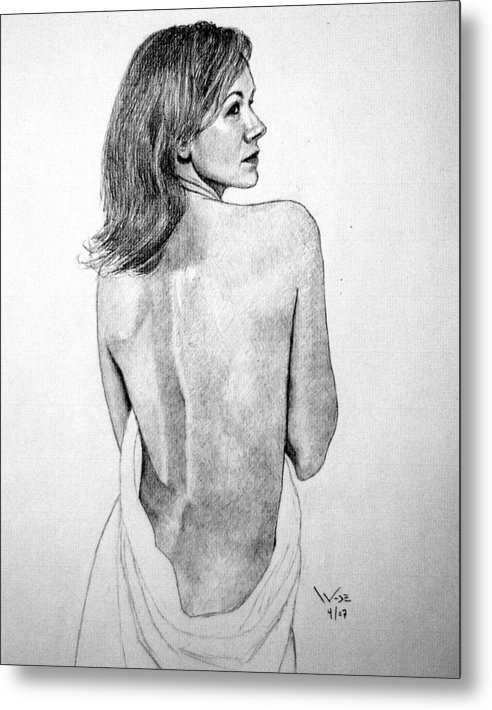 Female Metal Print featuring the drawing Female Nude Two by George Wade