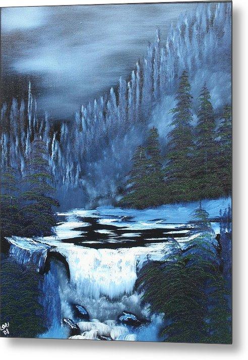Waterfall Metal Print featuring the painting Late Night Waterfall by Lori DeBruijn