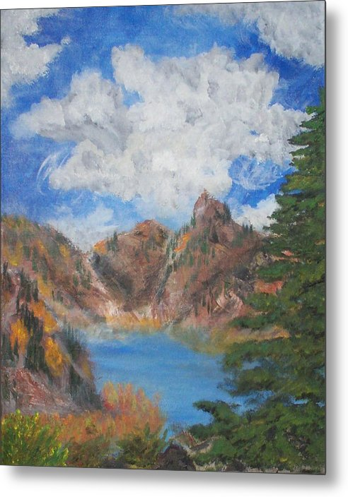Fall Metal Print featuring the painting Fall In The Rockies by Jennifer Skalecke