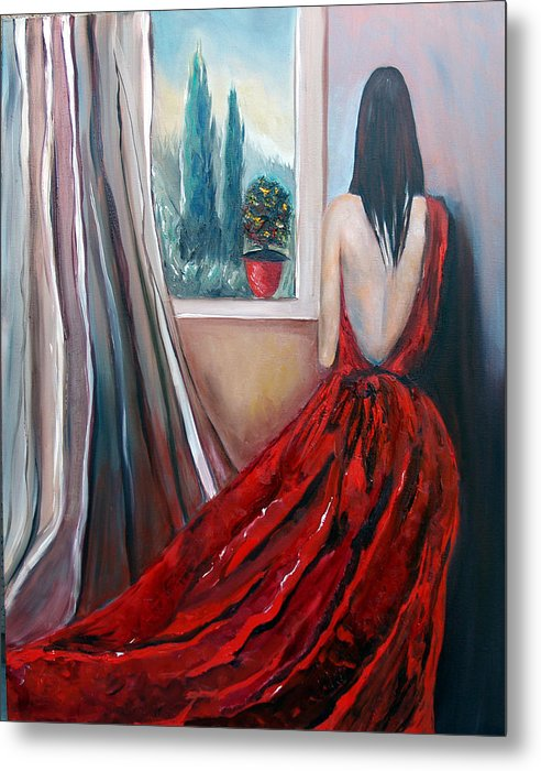 Girl Window Trees Dress Red Woman Metal Print featuring the painting Heart Of Mine by Niki Sands