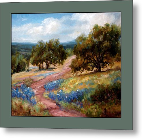 Texas Landscape Hill Country Bluebonnets Metal Print featuring the painting A Few Bluebonnets by Lilli Pell