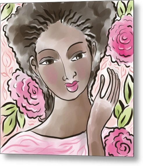 African American Metal Print featuring the digital art Joy In Flowers by Elaine Jackson