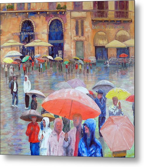 Umbrellas Metal Print featuring the painting Florence Spring by Dan Bozich
