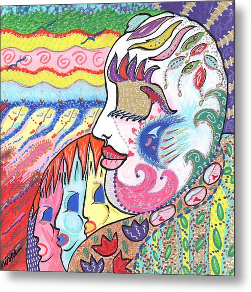 Harlequin Metal Print featuring the painting Gentle Smile by Sharon Nishihara