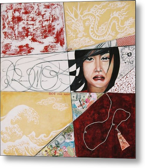 Asian Girl Metal Print featuring the painting I Am Not A Tourist Attraction by Teresa Carter