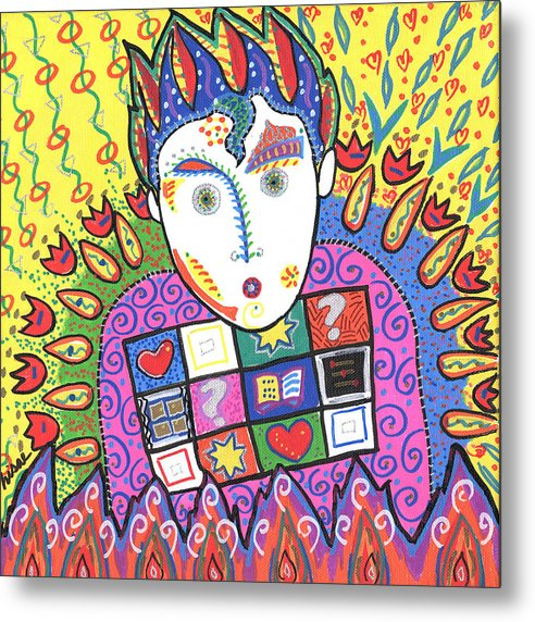 Whimsical Metal Print featuring the painting Kevin by Sharon Nishihara