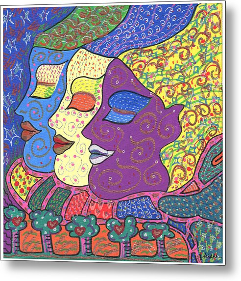 Bright Metal Print featuring the painting Three Maidens by Sharon Nishihara
