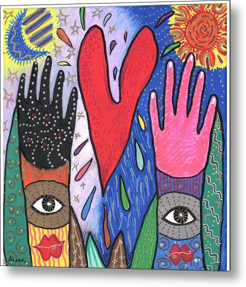 Multicultural Metal Print featuring the painting Two Hands by Sharon Nishihara