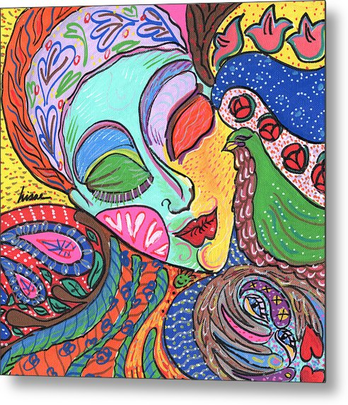 Whimsical Metal Print featuring the painting Woman With Scarf by Sharon Nishihara