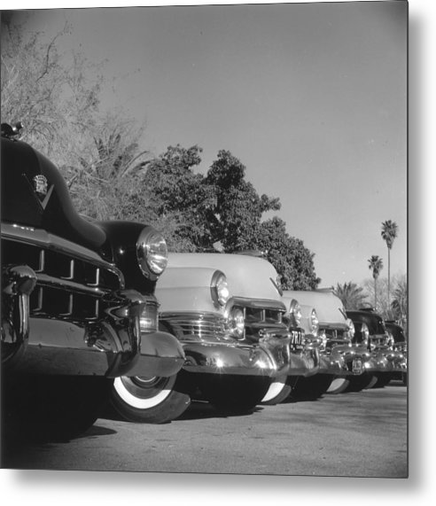1950-1959 Metal Print featuring the photograph Cadillac Cars by Slim Aarons