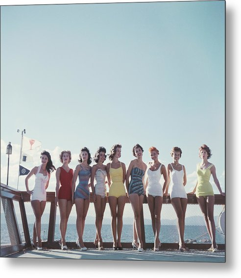 People Metal Print featuring the photograph Lake Tahoe Ladies by Slim Aarons