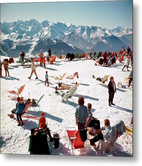 People Metal Print featuring the photograph Verbier Vacation by Slim Aarons