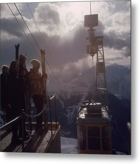 Skiing Metal Print featuring the photograph Alpine Skiing by Slim Aarons