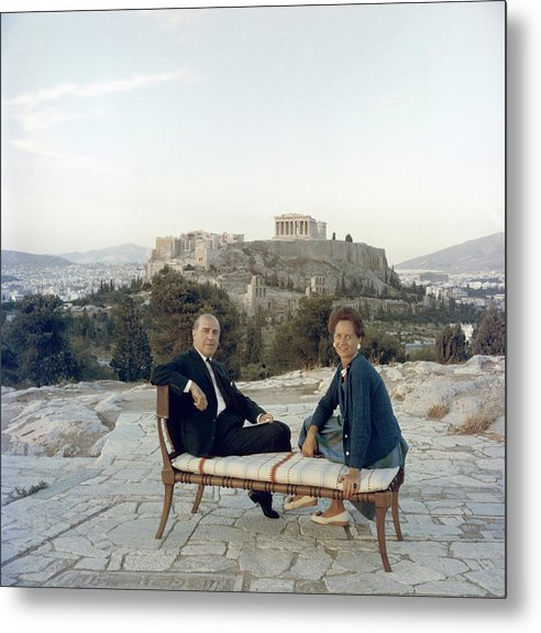 People Metal Print featuring the photograph Ancient Greek Furniture by Slim Aarons