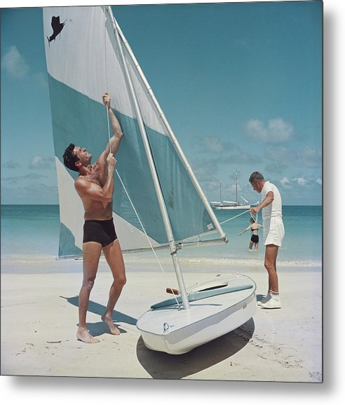 Hugh O'brian Metal Print featuring the photograph Boating In Antigua by Slim Aarons