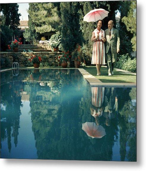 Heterosexual Couple Metal Print featuring the photograph Greek Garden by Slim Aarons