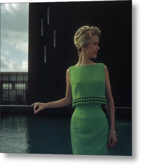 California Metal Print featuring the photograph Green Two-piece by Slim Aarons