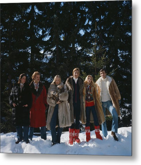Snow Metal Print featuring the photograph Guests At The Furstenberg Villa by Slim Aarons