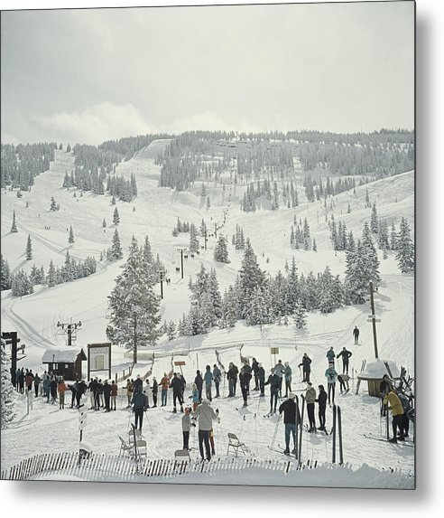 Ski Pole Metal Print featuring the photograph Skiing In Vail by Slim Aarons