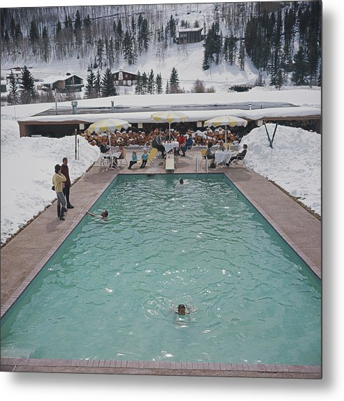 Snow Round The Pool Metal Print