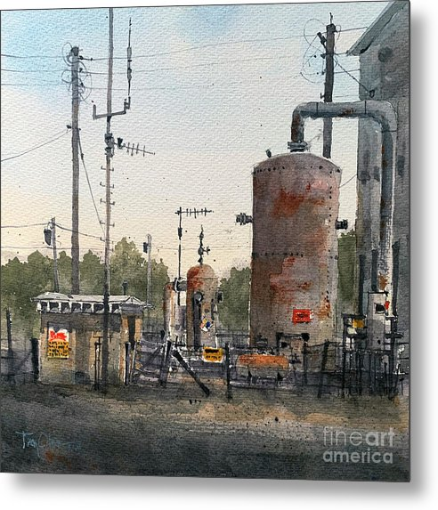 Schleicher County Metal Print featuring the painting Toenail Compressor Station by Tim Oliver