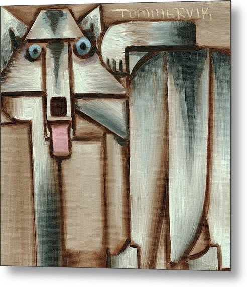 Wolf Metal Print featuring the painting Gray Wolf With Tongue Hanging Out Art Print by Tommervik