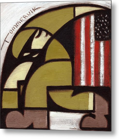 Soldier Holding Flag Metal Print featuring the painting Tommervik Abstract American Solder Raising Flag Art Print by Tommervik