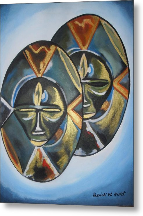 African Art Metal Print featuring the painting African Double Mask by Patrick Hunt