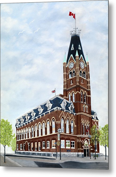 Belleville Ontario Painting Metal Print featuring the painting City Hall circa1873 Belleville Ontario by Peggy Holcroft