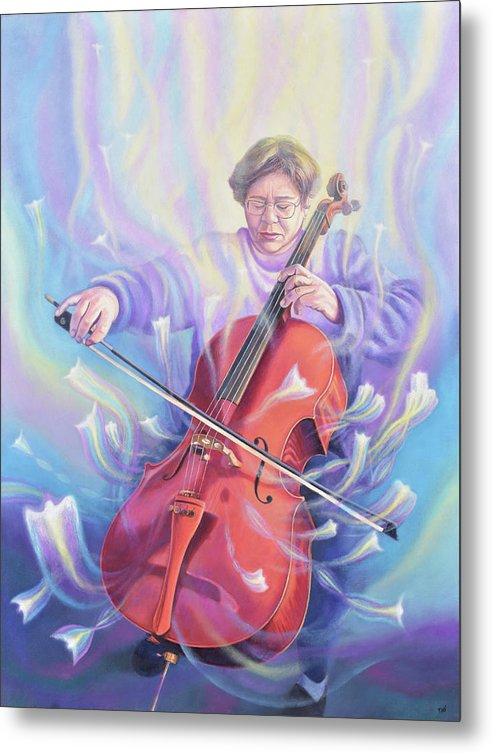 Music Metal Print featuring the painting The Cellist by Miguel Tio