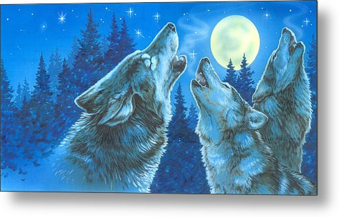 Wolves Metal Print featuring the painting Moon Song by Richard De Wolfe