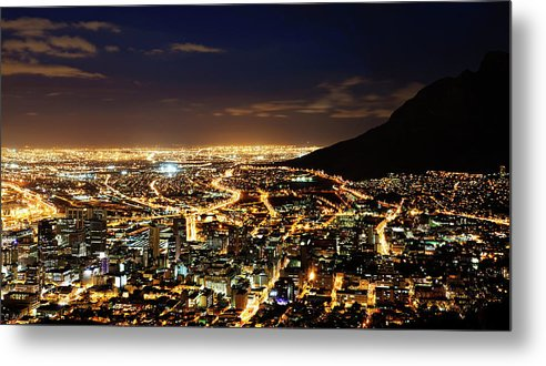 Scenics Metal Print featuring the photograph Cape Town, South Africa By Night by Clicknique