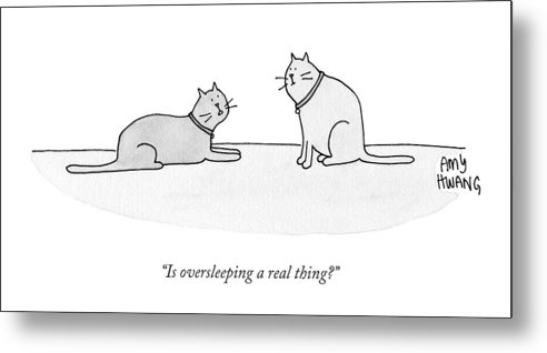 Cat Metal Print featuring the drawing Is Oversleeping A Real Thing? by Amy Hwang