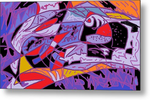 Abstract Fish Metal Print featuring the digital art Large Fish by Beebe Barksdale-Bruner