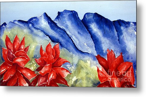 Mountains Metal Print featuring the painting Monterrey Mountains with Red Floral by Kandyce Waltensperger