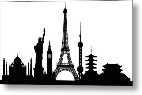Clock Tower Metal Print featuring the digital art Monuments Buildings Are Complete And by Leontura