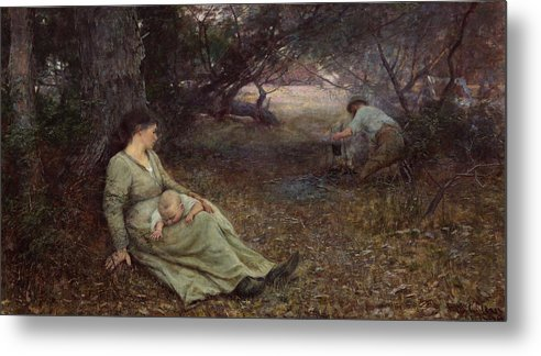 Frederick Mccubbin Metal Print featuring the painting On the wallaby track by Frederick McCubbin