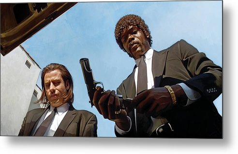 Pulp Fiction Paintings Metal Print featuring the painting Pulp Fiction Artwork 1 by Sheraz A