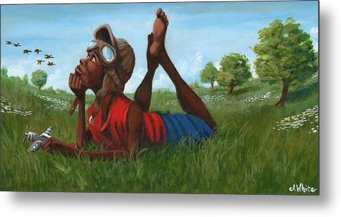 Tuskegee Metal Print featuring the painting Red Tail Dreamer by Jerome White