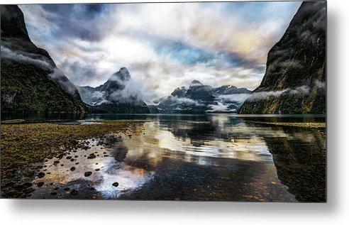 Scenics Metal Print featuring the photograph Sound Asleep | Fiordland, New Zealand by Copyright Lorenzo Montezemolo