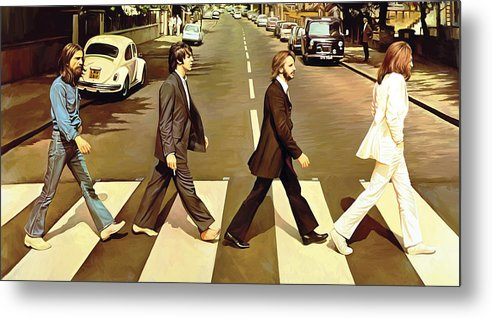 The Beatles Abbey Road Paintings Metal Print featuring the painting The Beatles Abbey Road Artwork by Sheraz A
