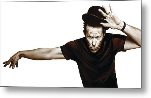 Tom Waits Paintings Metal Print featuring the mixed media Tom Waits Artwork 4 by Sheraz A