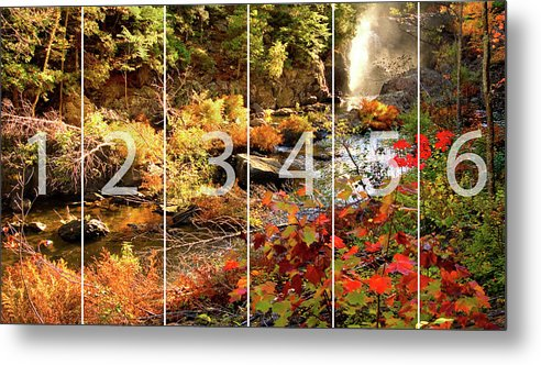 Dead River Falls Metal Print featuring the mixed media Dead River Falls Marquette Michigan panoramic map by Michael Bessler