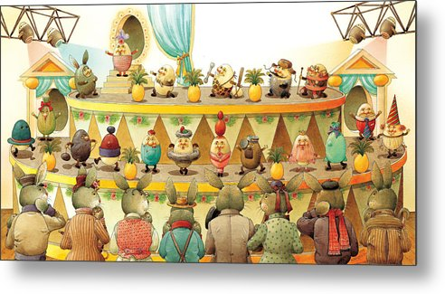 Egs Easter Metal Print featuring the painting Eggs Fashion by Kestutis Kasparavicius