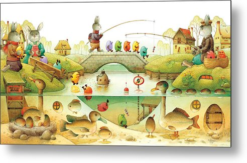 Eggs Easter Rabbit Metal Print featuring the painting Eggstown by Kestutis Kasparavicius