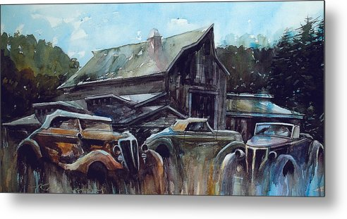 Barn Metal Print featuring the painting Ford Cabriolets Guard the Barn by Ron Morrison