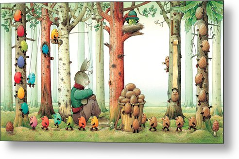 Eggs Easter Forest Metal Print featuring the painting Forest Eggs by Kestutis Kasparavicius
