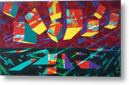 Geometric Metal Print featuring the painting Form Goes With Void by Rollin Kocsis