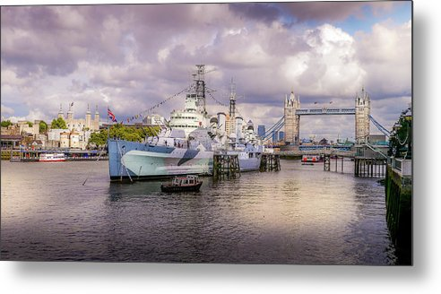 Belfast Metal Print featuring the photograph Hms Belfast And Tower Bridge by Geoff Eccles